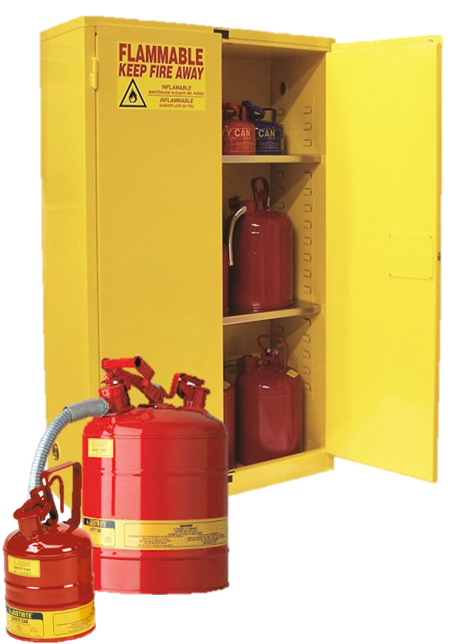 Flammable Storage Cabinet and Jerry Cans